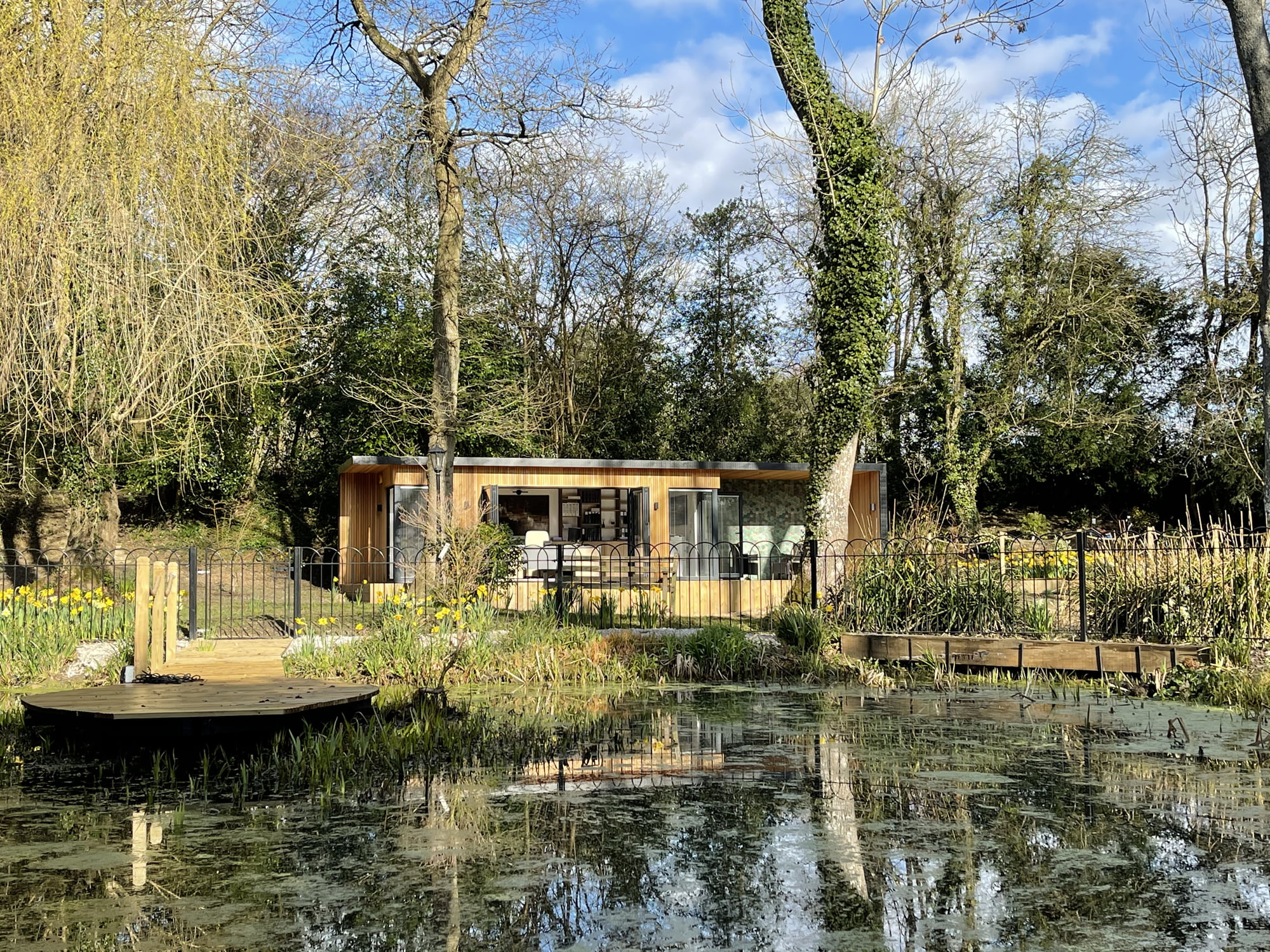 unique garden office by the pond
